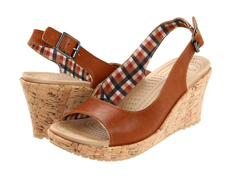 Sandale Crocs - A-Leigh Wedge Leather - Cocoa