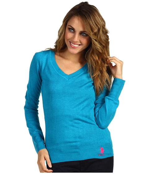 Pulovere U.S. Polo Assn - Long Sleeve V-Neck - Metal Turquoise