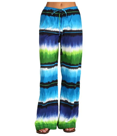 Pantaloni Tommy Bahama - Hazy Ikat Stripe Drawstring Long Pant w/ Tassels - Peacock Blue Multi