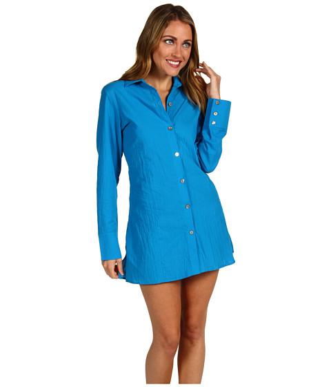 Rochii Tommy Bahama - Crinkle Cotton Lawn Boyfriend Shirt w/ Laced Back & Tassels - Peacock Blue