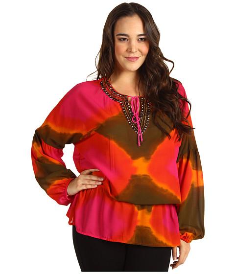 Bluze Michael Kors - Plus Size Tie Dye Peasant Blouse - Lacquer Pink