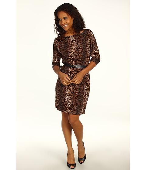 Rochii Michael Kors - Persian Leopard Pebble Crepe Boatneck Dress w/ Slit Sleeves - Caramel