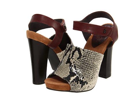 Pantofi Juicy Couture - Fame - Natural Python Print / Oxblood Stingray Emboss