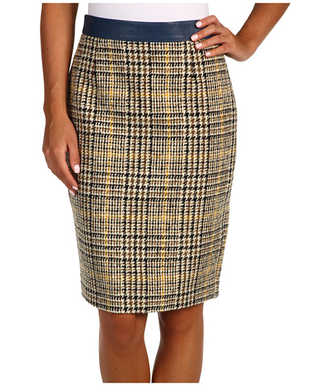 Pantaloni DSQUARED2 - Kateingale Pencil Skirt - Check/Bluette Leather