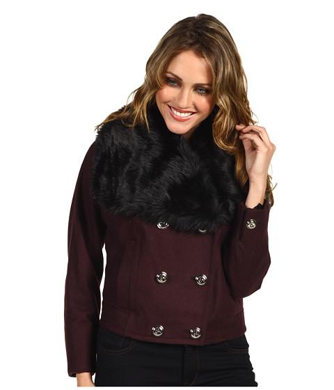 Jachete Juicy Couture - Wool Melton Jacket Faux Fur Trim - Dark Cabernet