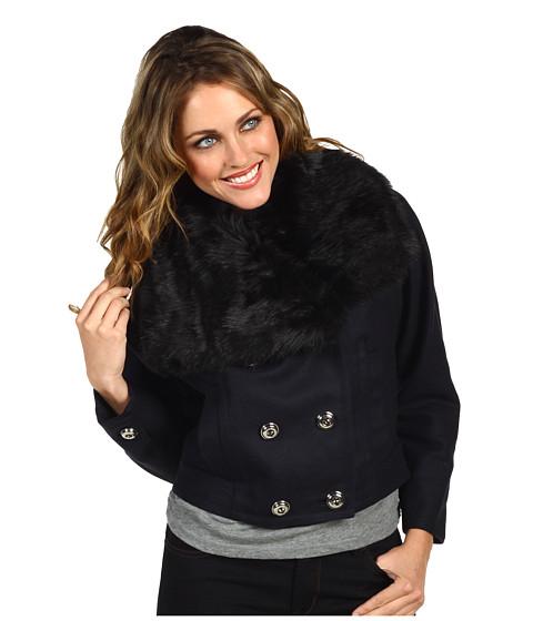 Jachete Juicy Couture - Wool Melton Jacket Faux Fur Trim - Dark Regal