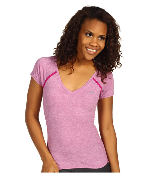 Tricouri Nike - Nike Tailwind S/S V-Neck - Rave Pink/Heather/Rave Pink/Reflective Silver