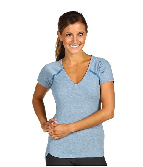 Tricouri Nike - Nike Tailwind S/S V-Neck - Shaded Blue/Heather/Shaded Blue/Reflective Silver