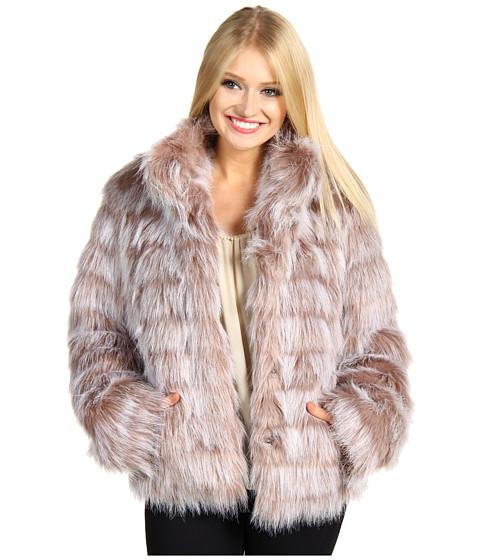 Jachete Betsey Johnson - Faux Fur Bomber Jacket w/ Stadium Collar - Pink