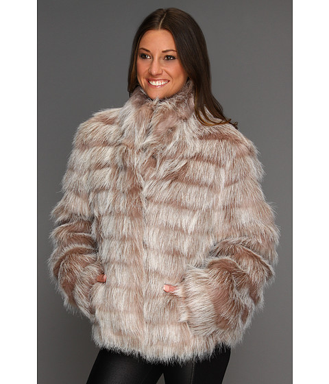Jachete Betsey Johnson - Faux Fur Bomber Jacket w/ Stadium Collar - Brown