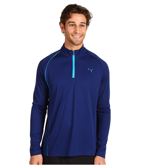 Tricouri PUMA - Golf 1/4 Zip Long Sleeve Polo - Blue Depths