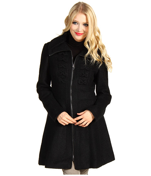 Jachete Jessica Simpson - Wool Boucle Bow Front Coat - Black