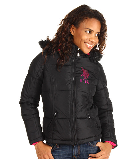 Jachete U.S. Polo Assn - Faux Fur Hooded Jacket w/Rhinestones - Black
