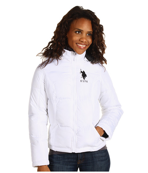 Jachete U.S. Polo Assn - Fur Trimmed Puffer with Big Pony - Optic White