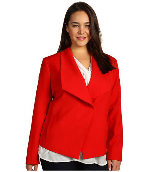Jachete Anne Klein - Plus Size Drape Front Jacket - Poppy Red