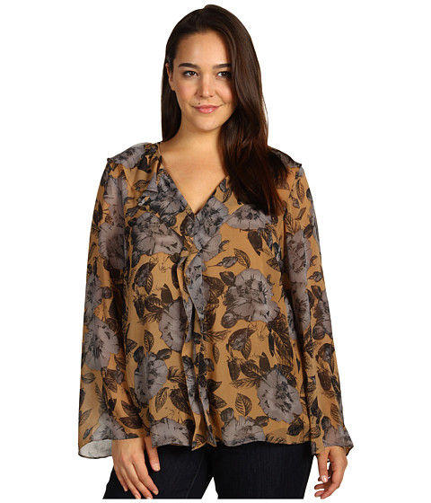 Bluze Anne Klein - Plus Size Floral Print Bell Sleeve Blouse - Cappuccino Multi
