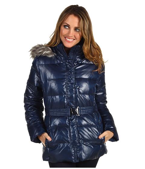 Jachete DKNY - Belted Faux Fur Trim Cire Jacket - New Blue