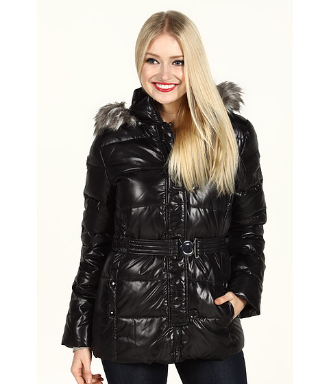Jachete DKNY - Belted Faux Fur Trim Cire Jacket - Black