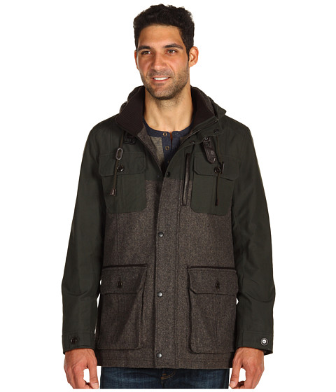 Jachete Cole Haan - Herringbone Mixed Media Parka - Smoke