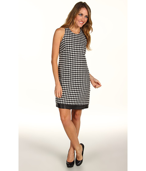Rochii ABS Allen Schwartz - Sleeveless Houndstooth Sheath Dress - Black/White