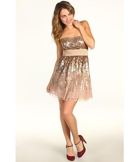 Rochii BCBGMAXAZRIA - Laylan Sequin Strapless Dress - Light Bisque