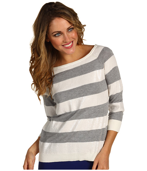 Pulovere Vince Camuto - Rough & Refined Ribbed Trim Sequin Stripe Sweater - Light Smoke Heather