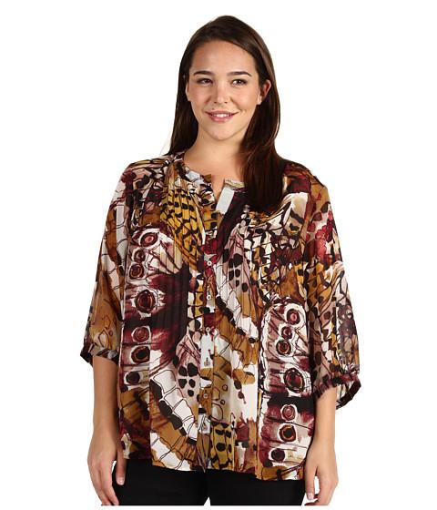 Tricouri Calvin Klein - Plus Size Button Pintuck Monarch Sweater - Black/Lag Multi
