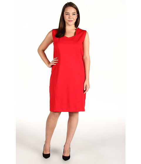 Rochii Anne Klein - Plus Size Sleeveless Dress w/ Princess Seams - Poppy Red