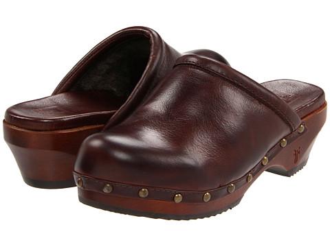Sandale Frye - Clara Campus Clog - Dark Brown Soft Vintage Leather/Shearling