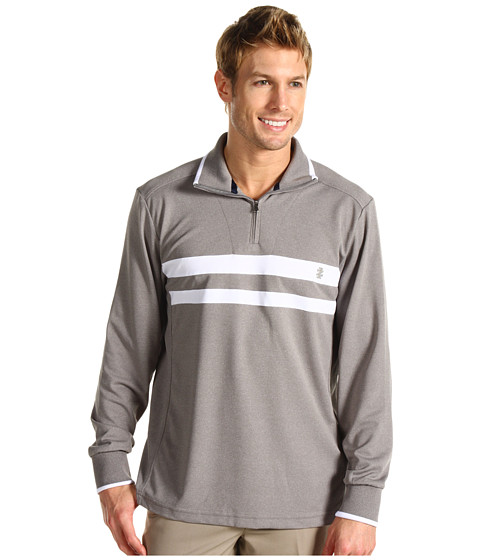 Bluze IZOD - Chest Stripe Mock Neck Performance Poly - Medium Heather Grey
