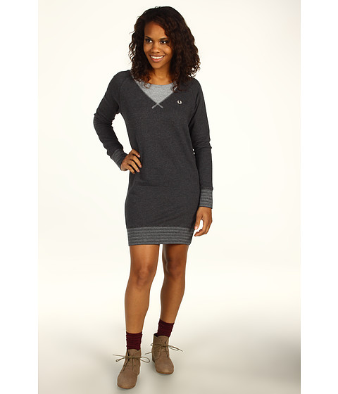 Rochii Fred Perry - Color Block Sweat Dress - Graphite Marl