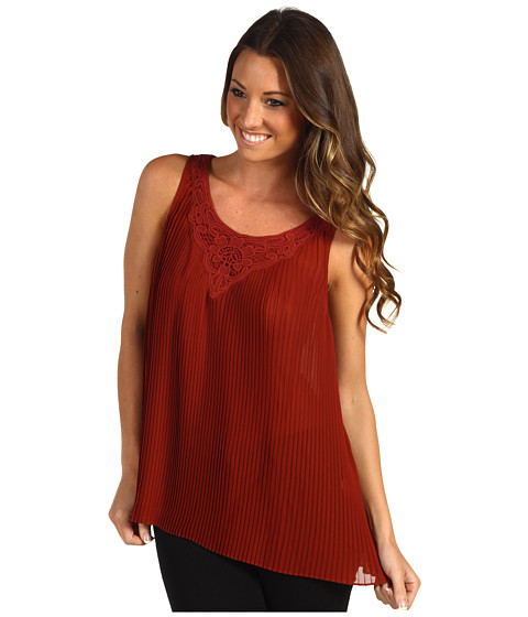 Bluze Lucky Brand - Lindsey Pleated Lace Tank - Canyon Red