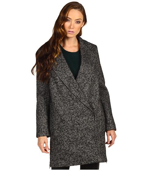 Jachete Tibi - Bonded Tweed Outerwear Tailored Boxy Coat - Black/Cream Multi