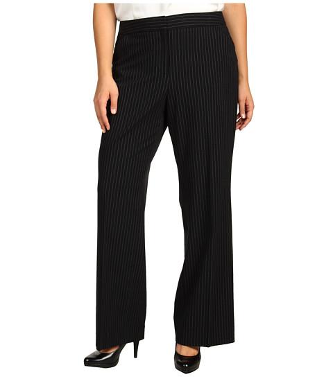 Pantaloni Anne Klein - Plus Size Wide Leg Pinstripe Pant - Black/Sugar
