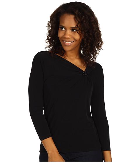Bluze Anne Klein - Asymmetric Brooch Top - Black
