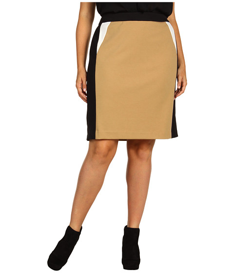 Fuste Calvin Klein - Plus Size Colorblocked Skirt - Camel