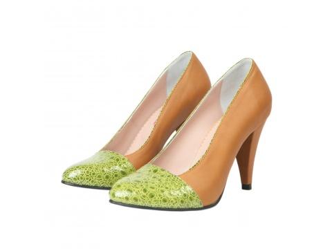 Pantofi Hotstepper - Pantofi Republic Camel & Crazy Green - Multicolor