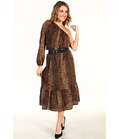 Rochii MICHAEL Michael Kors - Persian Leopard Pebble Crepe One Shoulder Peasant Dress - Caramel