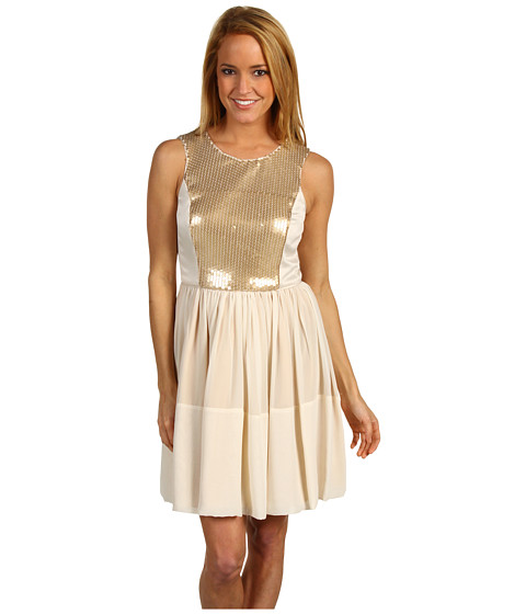 Rochii Max and Cleo - Luicy Chiffon & Sequins Dress - Gold