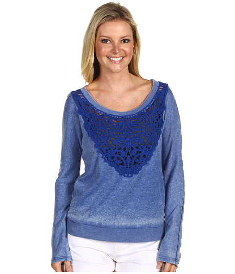 Bluze DEPT - Embroidered Burnout Jersey Top - Moonlight Blue