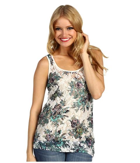 Bluze DEPT - Flower Lace Jersey Top - Dusty Mint
