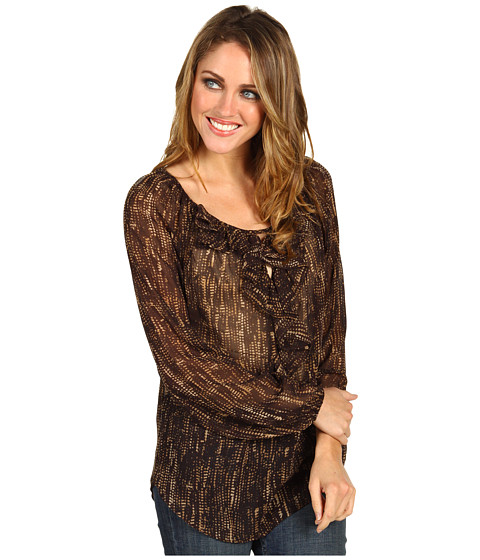 Bluze Anne Klein - Fringe Print Blouse - Chocolate Multi