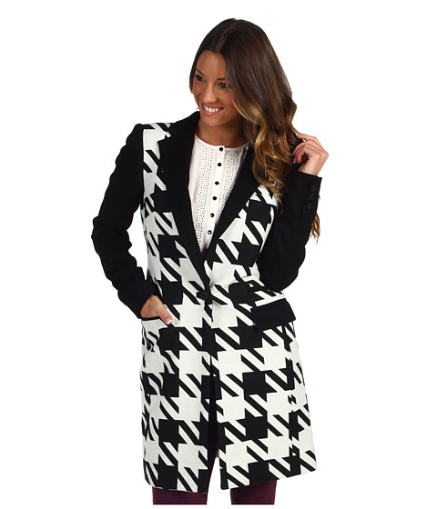 Jachete L.A.M.B. - Houndstooth Long Jacket - Black/Ivory