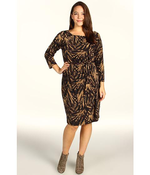 Rochii Anne Klein - Plus Size Leaf Print Faux Wrap Dress - Chocolate Brown/Cappuccino