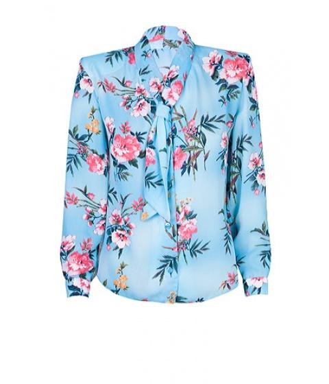 Bluze Elka Style - Bluza din voal cu imprimeu floral - Bleu cu imprimeu flori roz