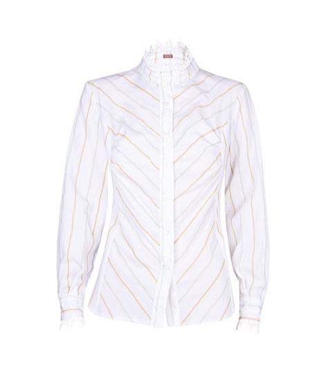 Camasi Elka Style - Camasa cu garnitura de dantela - Alb cu dungi bleu/bej