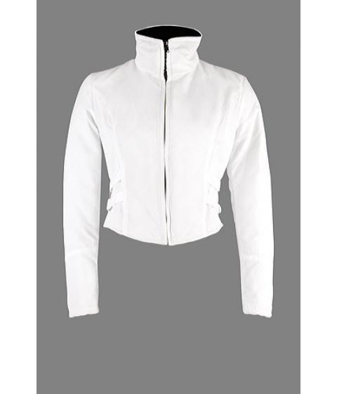 Geci Elka Style - Geaca matlasata alb cu garnitura negru - Alb cu garnitura neagra