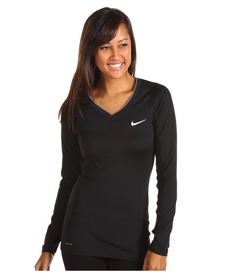 Bluze Nike - Nike Pro Long-Sleeve V-Neck II - Black/CoolGrey