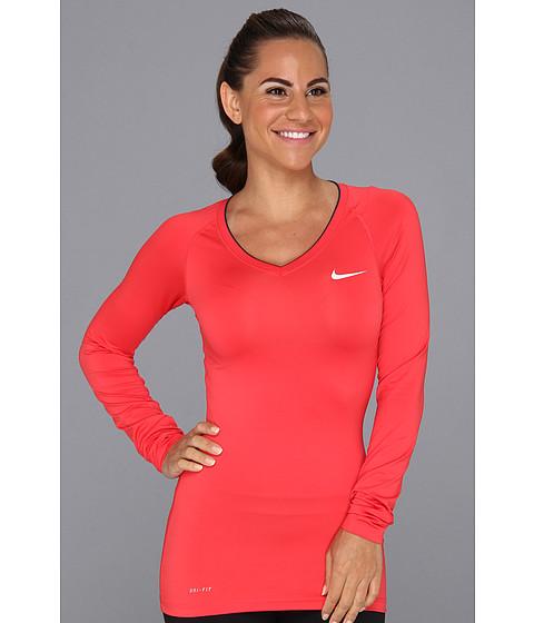 Bluze Nike - Nike Pro Long-Sleeve V-Neck II - Fusion Red/Summit White