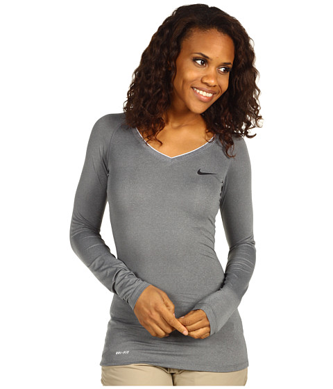 Bluze Nike - Nike Pro Long-Sleeve V-Neck II - CarbonHeather/Black